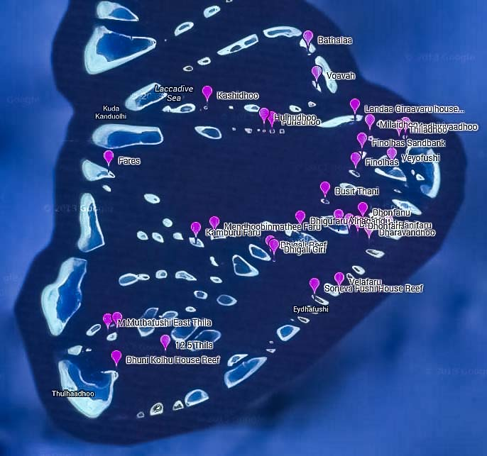 Turtle Monitoring Sites around Baa Atoll, Maldives
