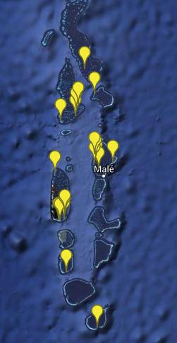 Map of Maldives, pinpointing all the participants in our Turtle ID Program