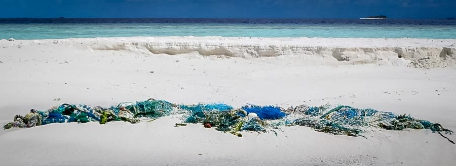 Fishing net washed ashore at Landaa Sand Bank