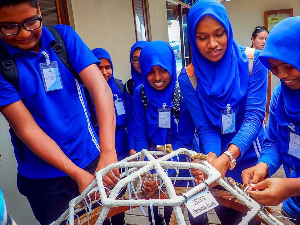 Ungoofaaru School visit Marine Savers - coral frame