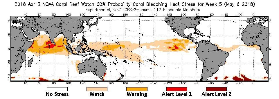 Coral bleaching – NOAA prediction 2018