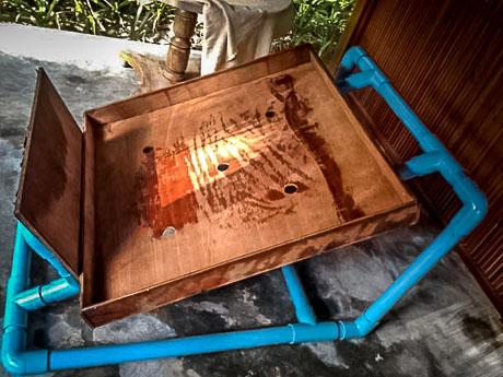 Improvised Turtle Operating Table