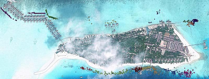 Coral Frames - GPS coordinates around Landaa Giraavaru (Jan-14)