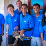 Nao the rescued Hawksbill turtle poses with Seamarc staff