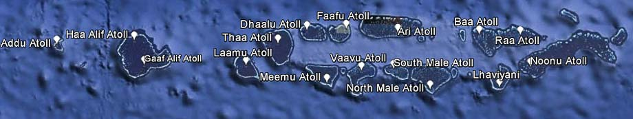 MNSTIP - Map of Maldives - 16 atolls being monitored in the Turtle ID Programme