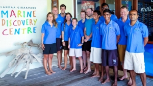 Dr Flot meets our Seamarc team of marine biologists, Maldives (Coral Taxonomy Project)