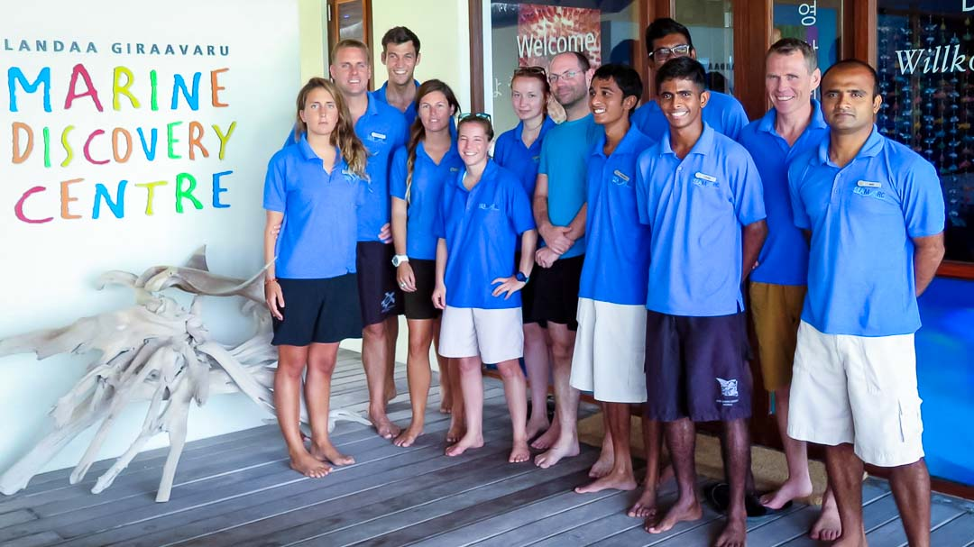 Dr Flot meets our Seamarc team of marine biologists, Maldives