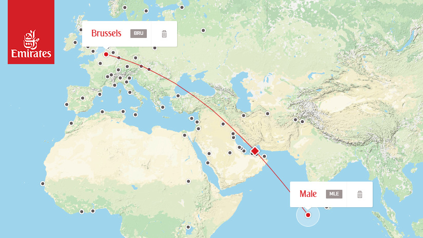 Emirates - from MLE to BRU (click to see Emirates routes)