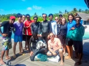 Rescue turtle Jasmine, olive ridly turtle with ghost fishing net, Maldives (Jasmine)