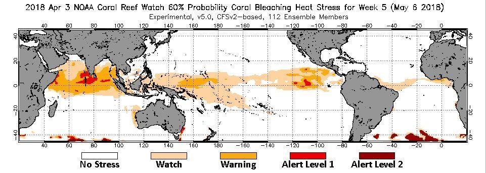Coral bleaching – NOAA prediction 2018