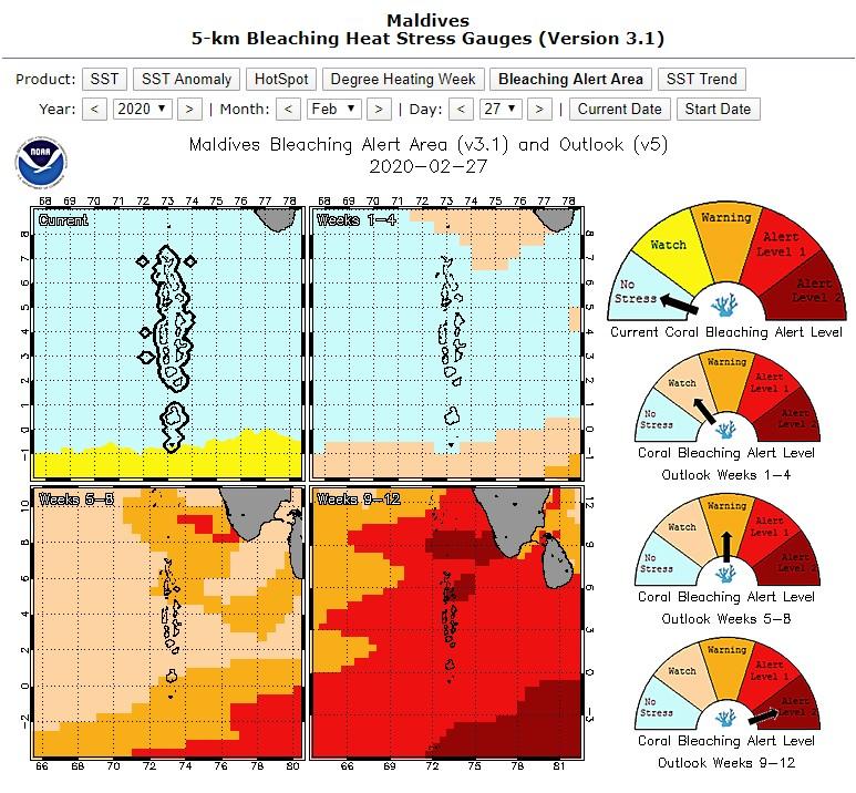 coral bleaching Maldives NOAA predictions