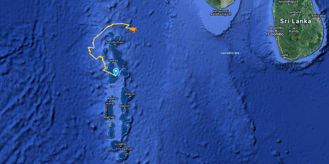 Sea Turtle satellite tracking map Maldives 2020